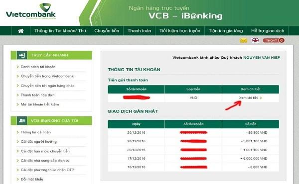Kiểm tra tài khoản ngân hàng Vietcombank qua văn phòng giao dịch
