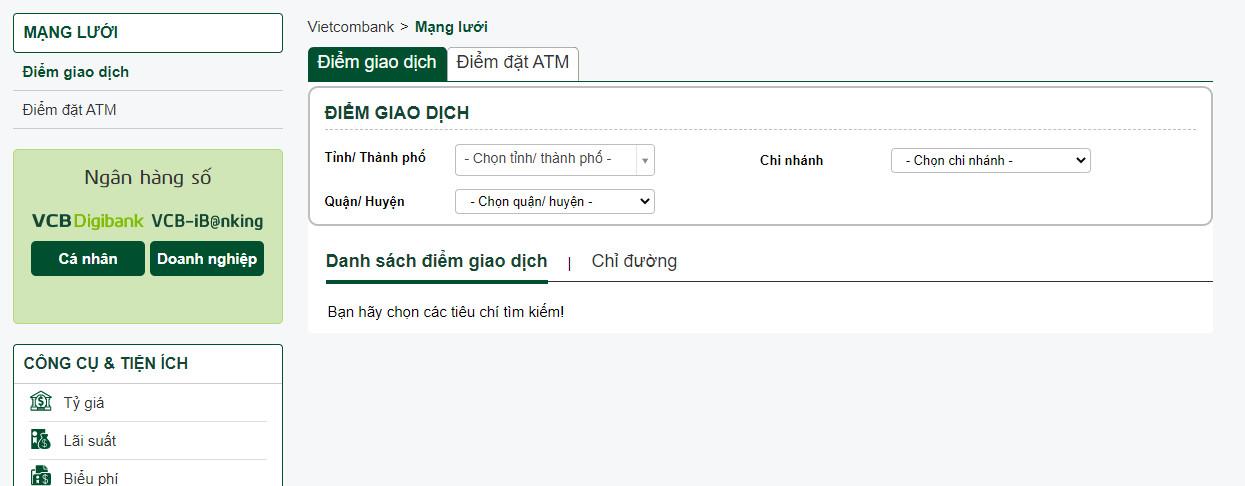 Tìm cây ATM trên web của ngân hàng Vietcombank