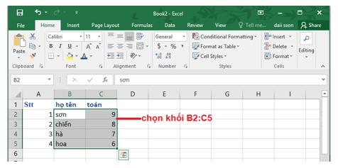 Chọn khối B2:C5