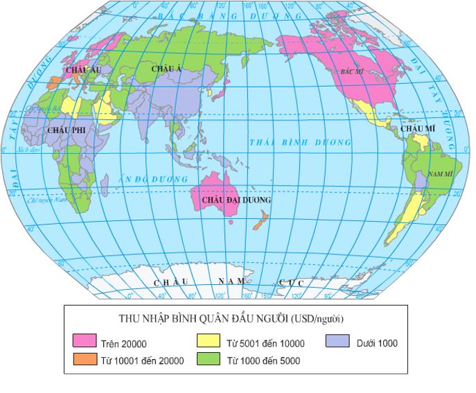 Lược đồ thu nhập bình quân đầu người của các quốc gia trên thế giới (năm 2000)