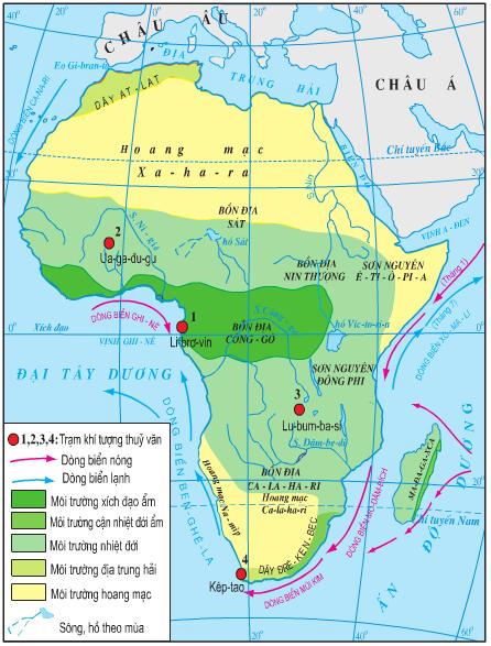 Lược đồ các môi trường tự nhiên của châu Phi