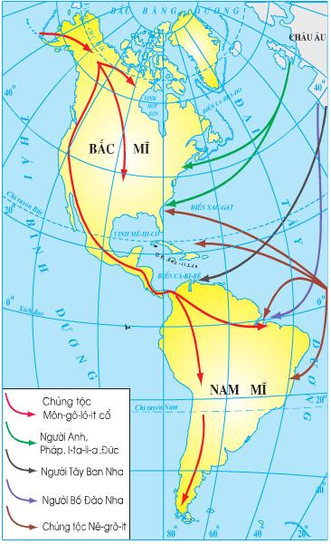 Lược đồ các luồng nhập cư vào châu Mĩ