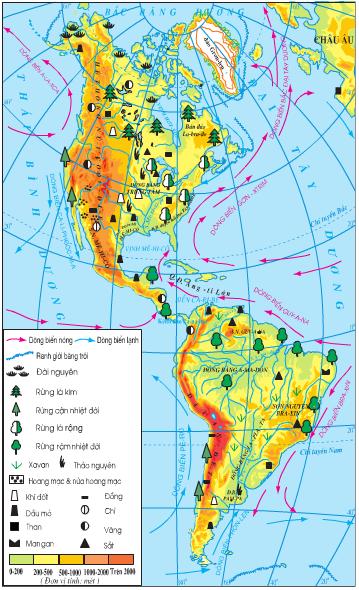 Lược đồ tự nhiên châu Mĩ