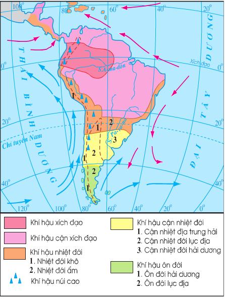Lược đồ khí hậu Trung và Nam Mĩ