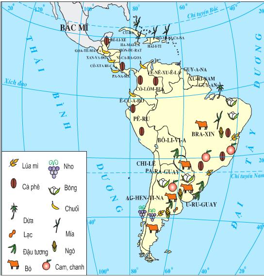 Lược đồ nông nghiệp Trung và Nam Mĩ