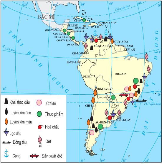 Lược đồ phân bố công nghiệp Trung và Nam Mĩ