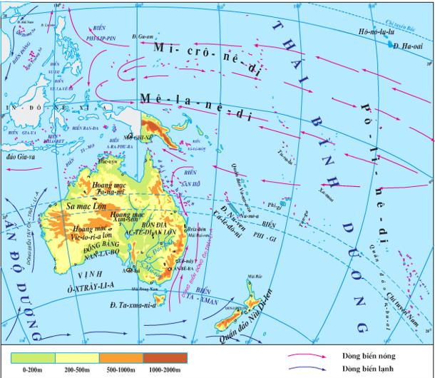 Hình 48.1: Lược đồ tự nhiên châu Đại Dương