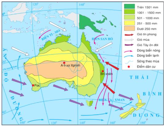 Hình 50.2: Lược đồ hướng gió và sự phân bố lượng mưa của lục địa Ô-xtrây-li-a và các đảo lân cận