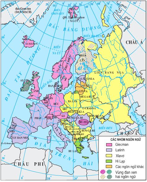 Lược đồ các nhóm ngôn ngữ ở châu Âu