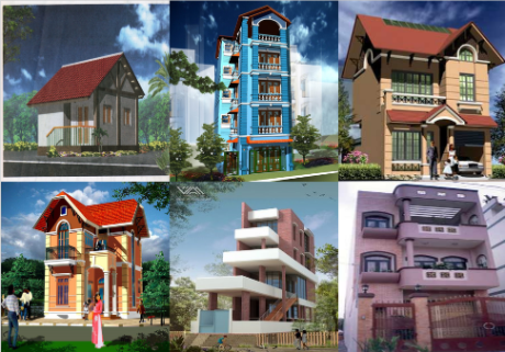 Hình chiếu phối cảnh của một số ngôi nhà