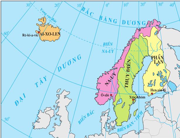 Lược đồ các nước khu vực Bắc Âu