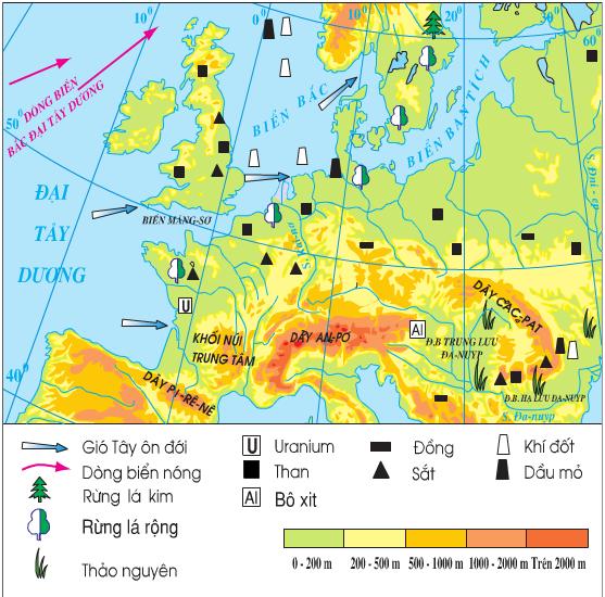 Lược đồ tự nhiên khu vực Tây và Trung Âu