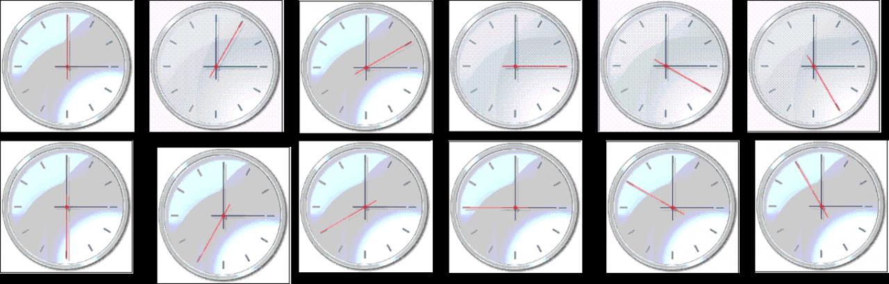 Mô phỏng chiếc kim giây đồng hồ di chuyển theo chiều kim đồng hồ
