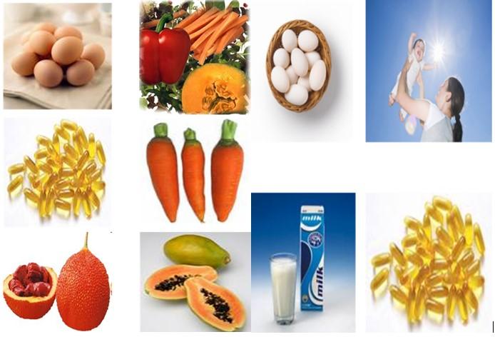 Hình 34.1 Nguồn thực phẩm cung cấp vitamin A và D