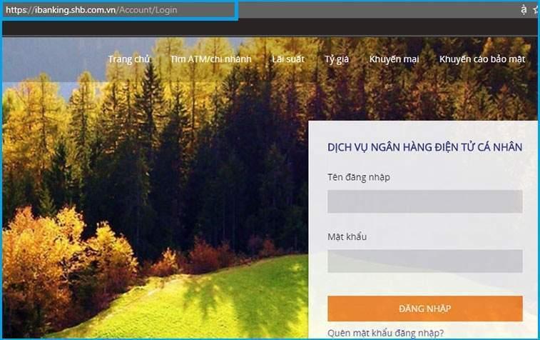 Giao diện đăng nhập của SHB Online