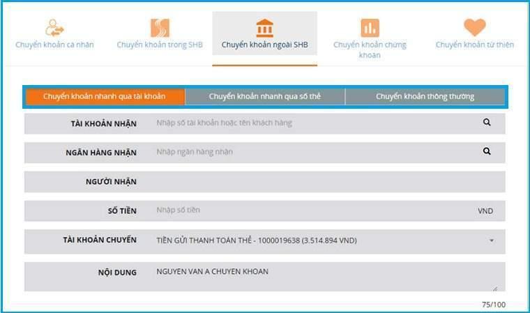 Kiểm tra tài khoản qua SHB Online