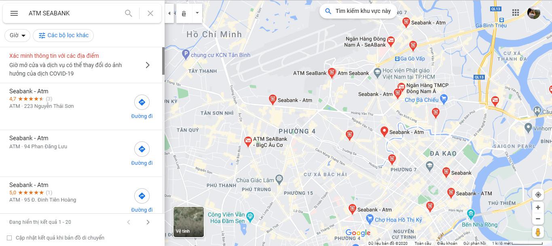 Cách tìm ngân hàng SeABank, cây ATM SeABank gần nhất qua app