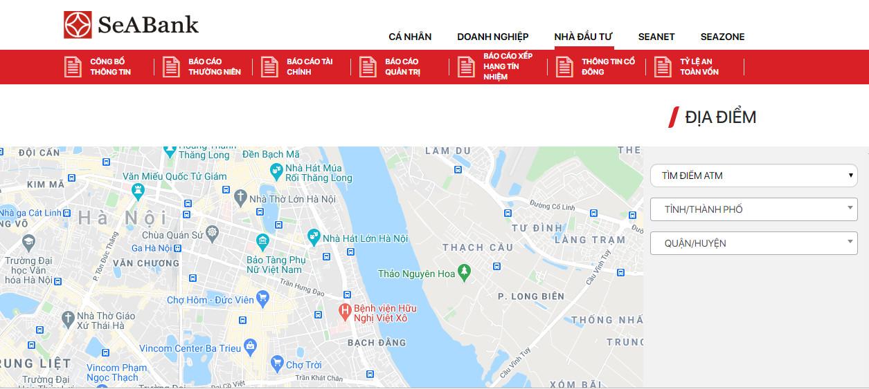 Cách tìm ngân hàng SeABank, cây ATM SeABank qua web ngân hàng