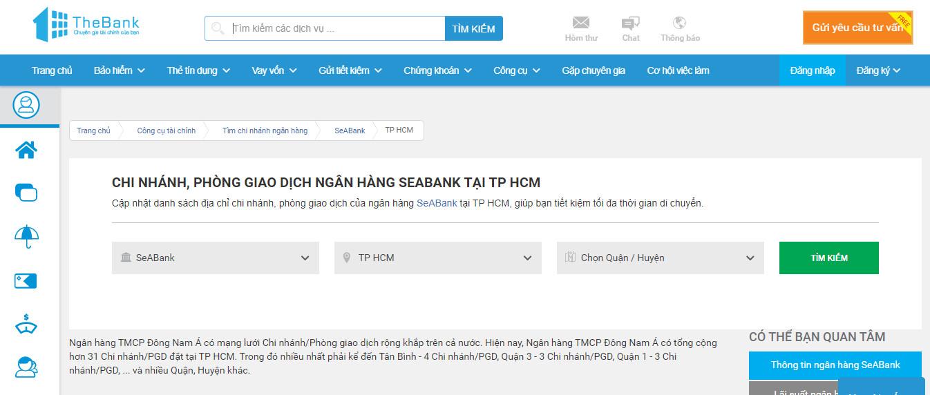 tìm ngân hàng SeABank gần nhất qua website