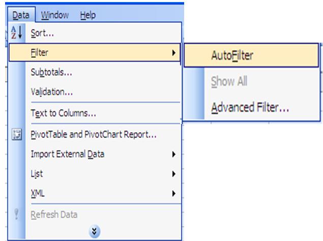 Mở bảng chọn Data / Filter / AutoFilter