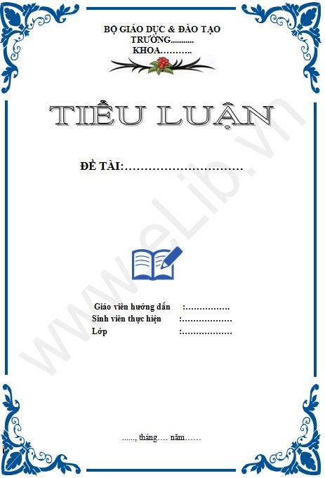 Bìa tiểu luận - Mẫu 1