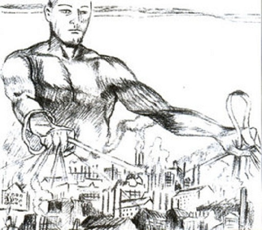 Bức tranh đương thời mô tả Chính sách mới (Người khổng lồ tượng trưng cho Nhà nước)