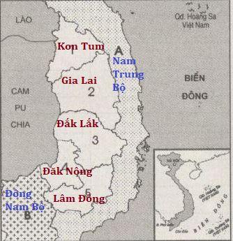 Lược đồ các tỉnh Tây Nguyên
