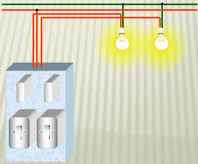 Sơ đồ 2 công tắc, 2 cực điều khiển và 2 bóng đèn