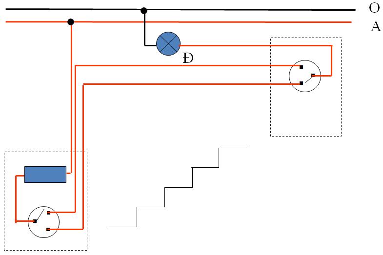 Sơ đồ lắp đặt mạch điện hai công tắc ba cực điều khiển một đèn