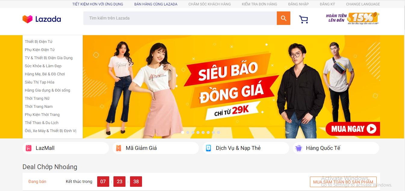 Website thương mại điện tử Lazada Việt Nam