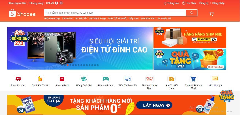 Website thương mại điện tử Shopee Việt Nam