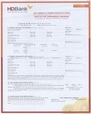 Biểu mẫu đăng ký tài khoản ngân hàng HDBank: