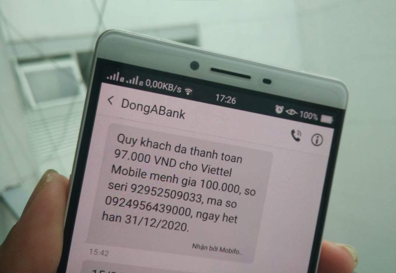 Các dịch vụ trên SMS Banking Đông Á