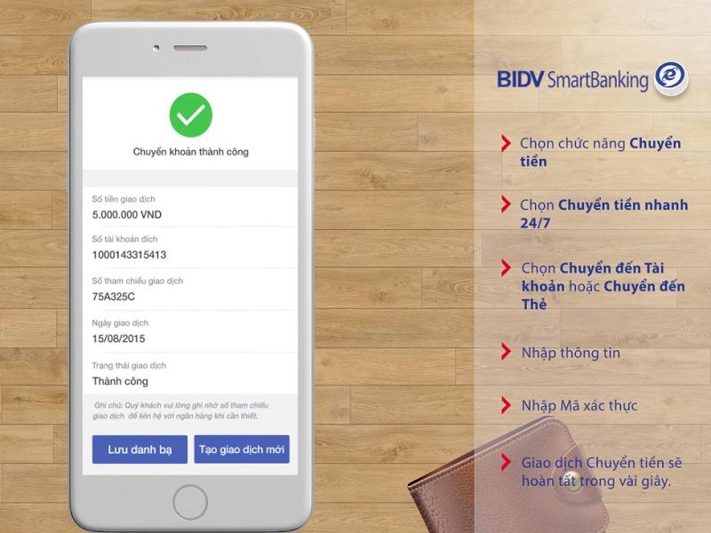 Cách chuyển tiền BIDV trên điện thoại bằng BIDV Smart Banking