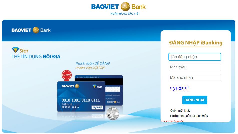 Màn hình đăng nhập Internet Banking BAOVIET Bank