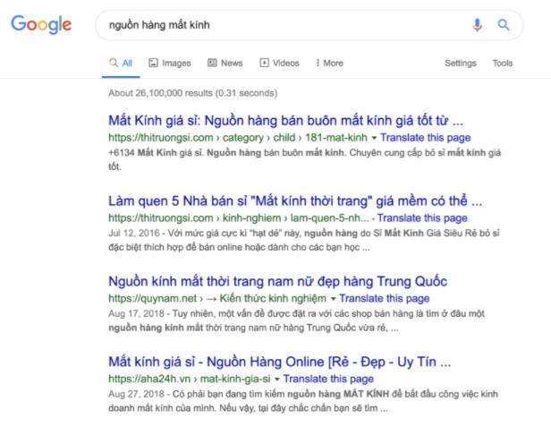 Tìm kiếm nguồn hàng mắt kính trên Google