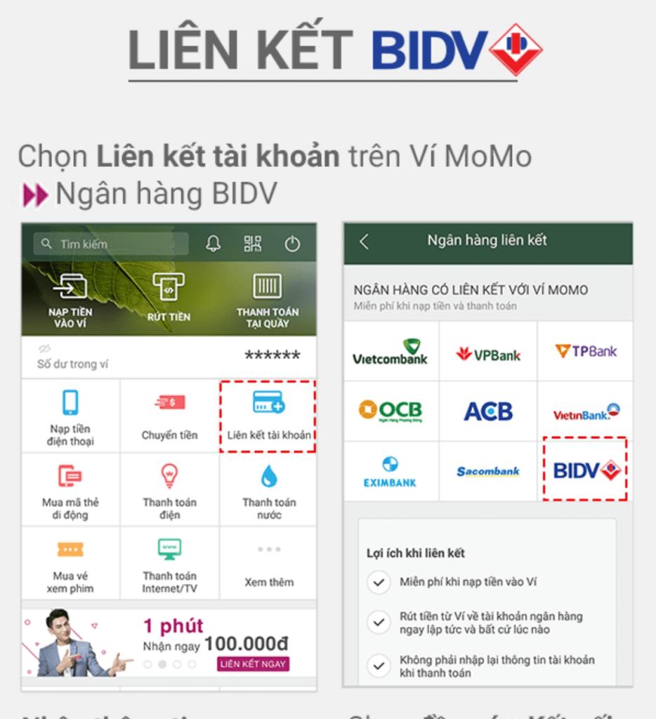Liên kết Momo với BIDV