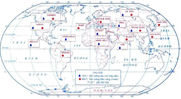 Lược đồ các nước khai thác dầu mỏ và sản xuất điện năng chủ yếu trên thế giới nắm 2007
