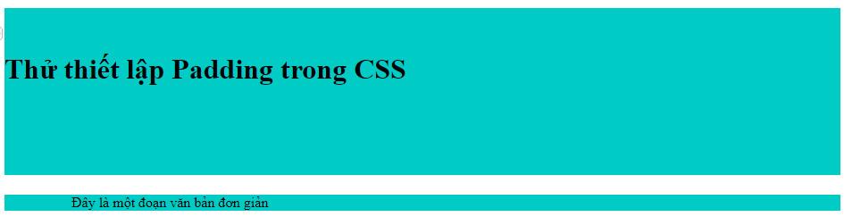 Ví dụ thiết lập padding trong CSS 1
