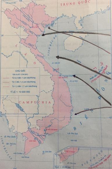 Lược đồ diễn biến mùa bão dọc bờ biển Việt Nam