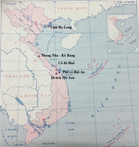 Lược đồ một số cảng biển, sân bay và di sản thế giới