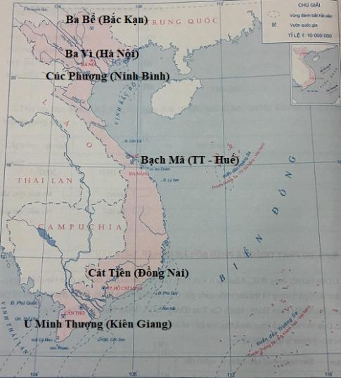 Lược đồ một số vườn quốc gia và ngư trường trọng điểm