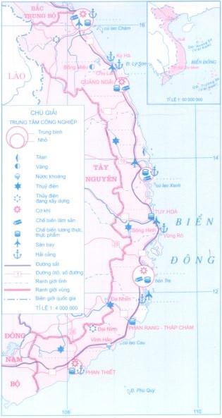 Lược đồ kinh tế duyên hải Nam Trung Bộ