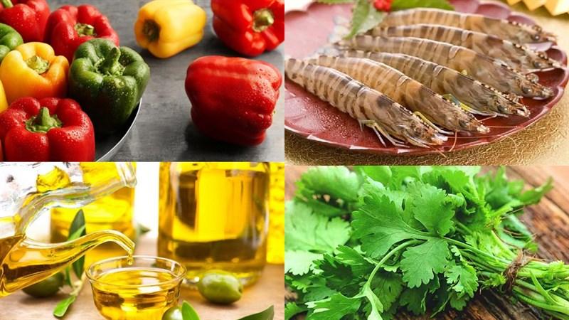 Một số nguyên liệu làm salad ớt chuông tôm