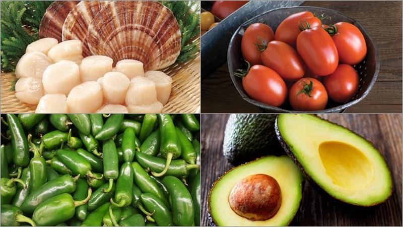 Một số nguyên liệu làm món salad sò điệp và bơ