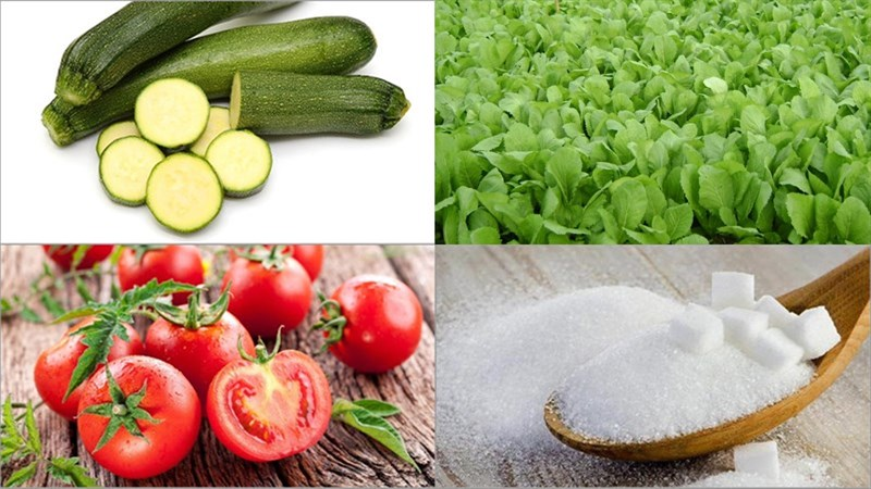 Một số nguyên liệu làm món salad bí ngòi chay