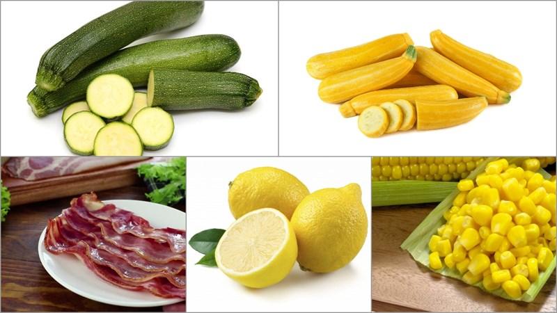 Nguyên liệu làm món salad bí ngòi nướng