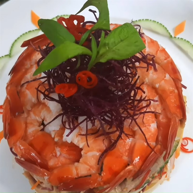 Thành phẩm món Salad hồng giòn tôm thịt