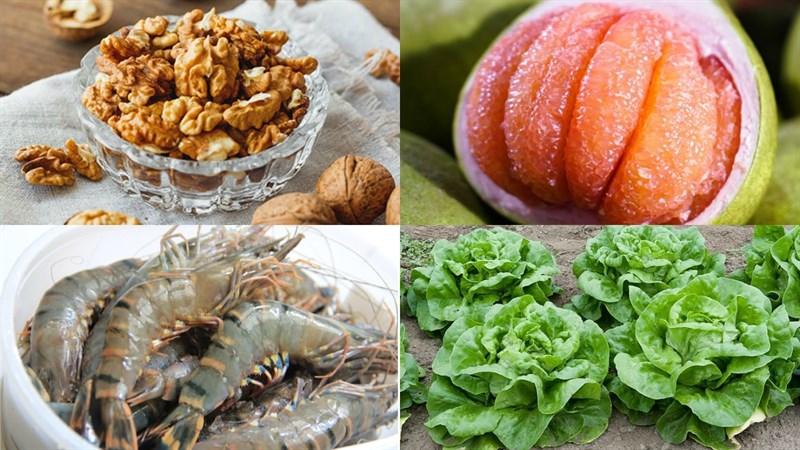 Một số nguyên liệu làm Salad tôm bưởi hạt óc chó