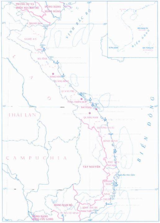 Lược đồ Bắc Trung Bộ và duyên hải Nam Trung Bộ